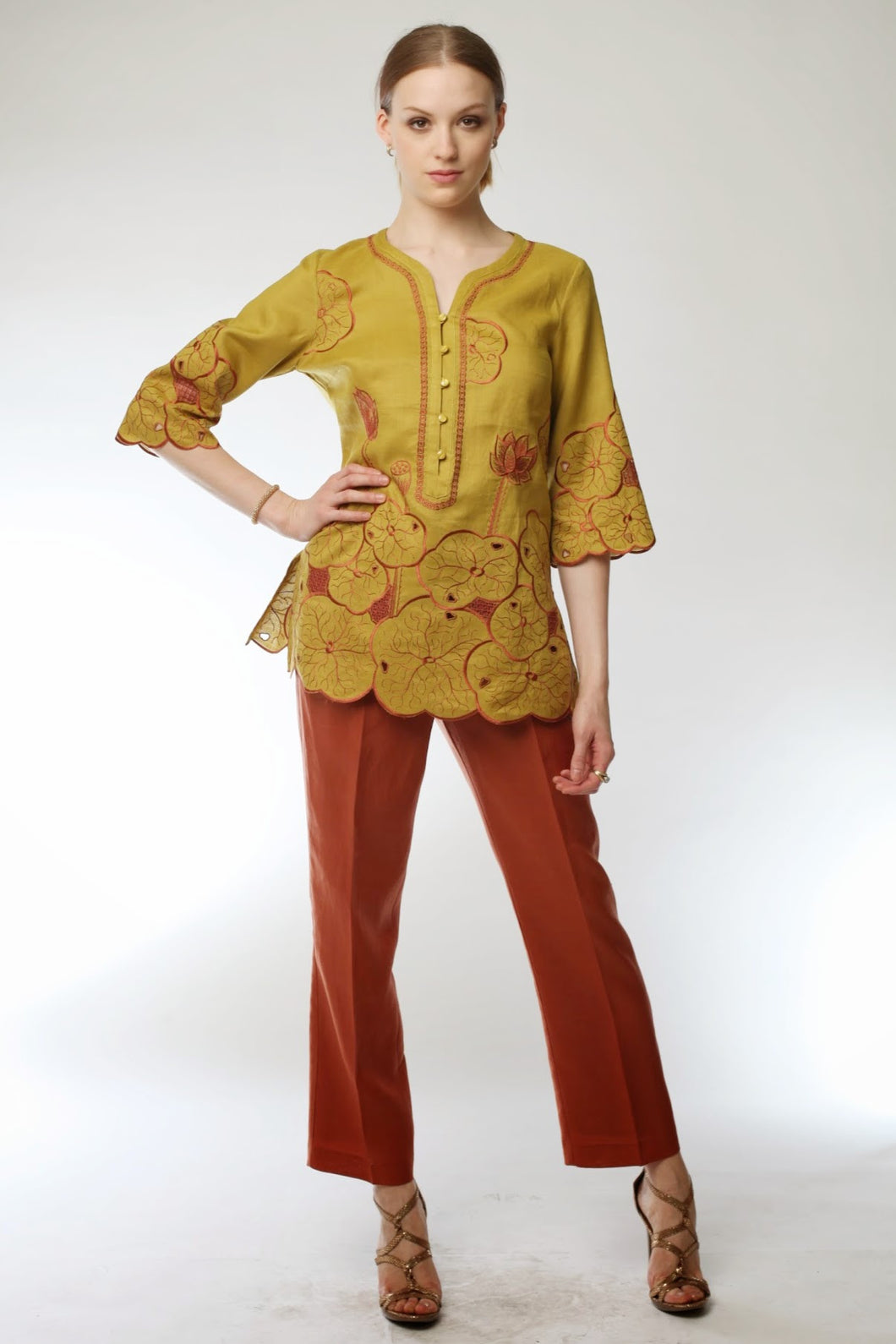 Embroidered Lotus Tunic and Pant Set (Teal/Khaki) Style # 1769P