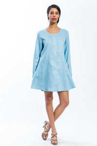 Classic Linen Long Sleeve Tunic (Blue) Style # 1773