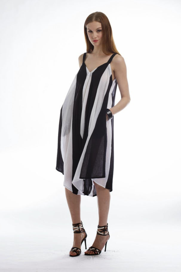 Jsong Striped Black And White Wide Leg Jumpsuit Dress Jsong