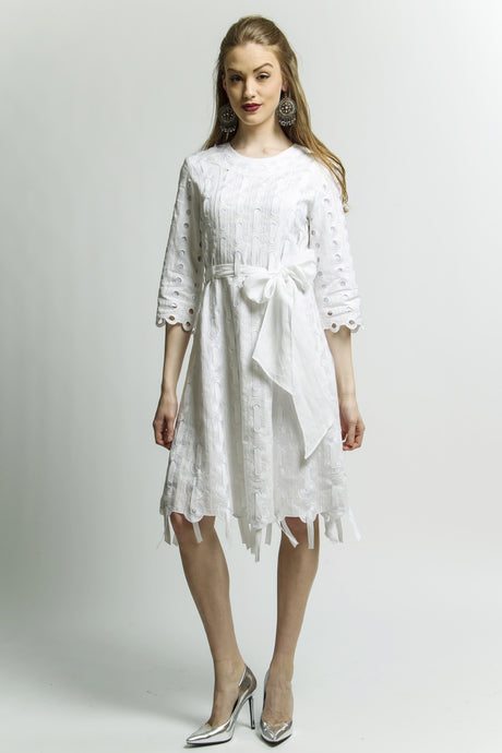 White Ribbon Circle Threaded Dress Style 1788
