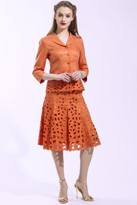 2 Piece Jacket and Skirt Paisley Suit (Orange) Style 1789S