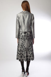 Abstract Flora Silver 3 Piece Suit Style # 1801CS