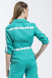 Ribbon Threaded Circle Shirt (Jade) Style 1815