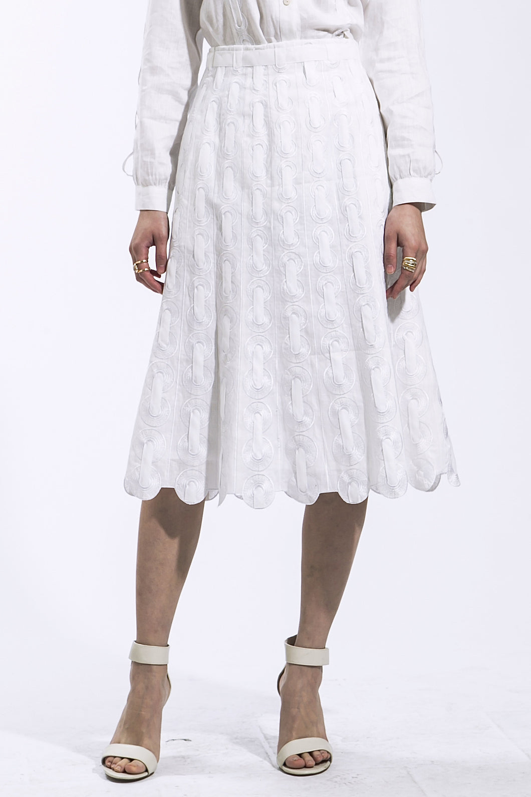 Ribbon Threaded Skirt (White) Style 1800
