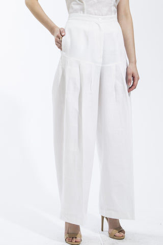 Fitted Yoke Wide Leg Pants Style 1820