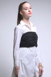 Made in NYC Ruched Silk Bustier (Black) Style #185