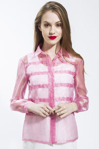 Pleated Organza Long Sleeve Shirt (Pink) Style# 4637
