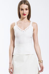 Lace Trim Camisole (White) Style #7230