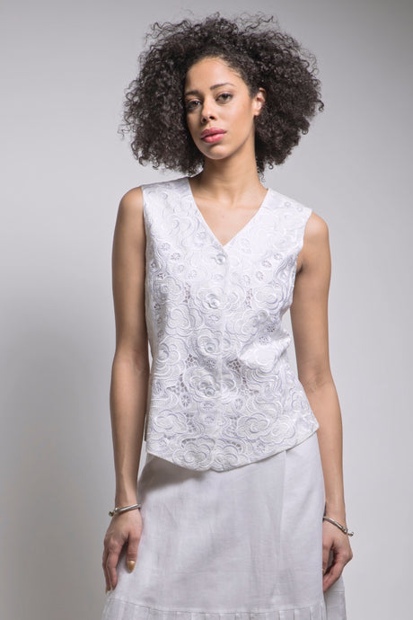 Embroidered Vest (White) Style # 7959