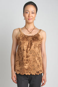 Embroidered Satin Camisole (Bronze) Style # 8104