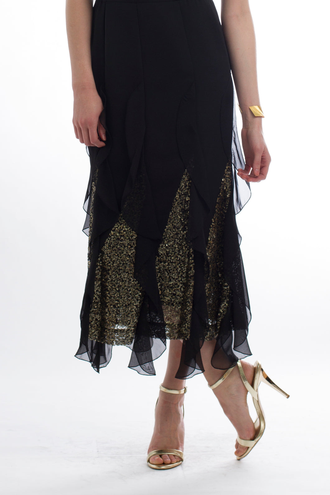Black and Gold Sequin Ruffle Skirt 1254