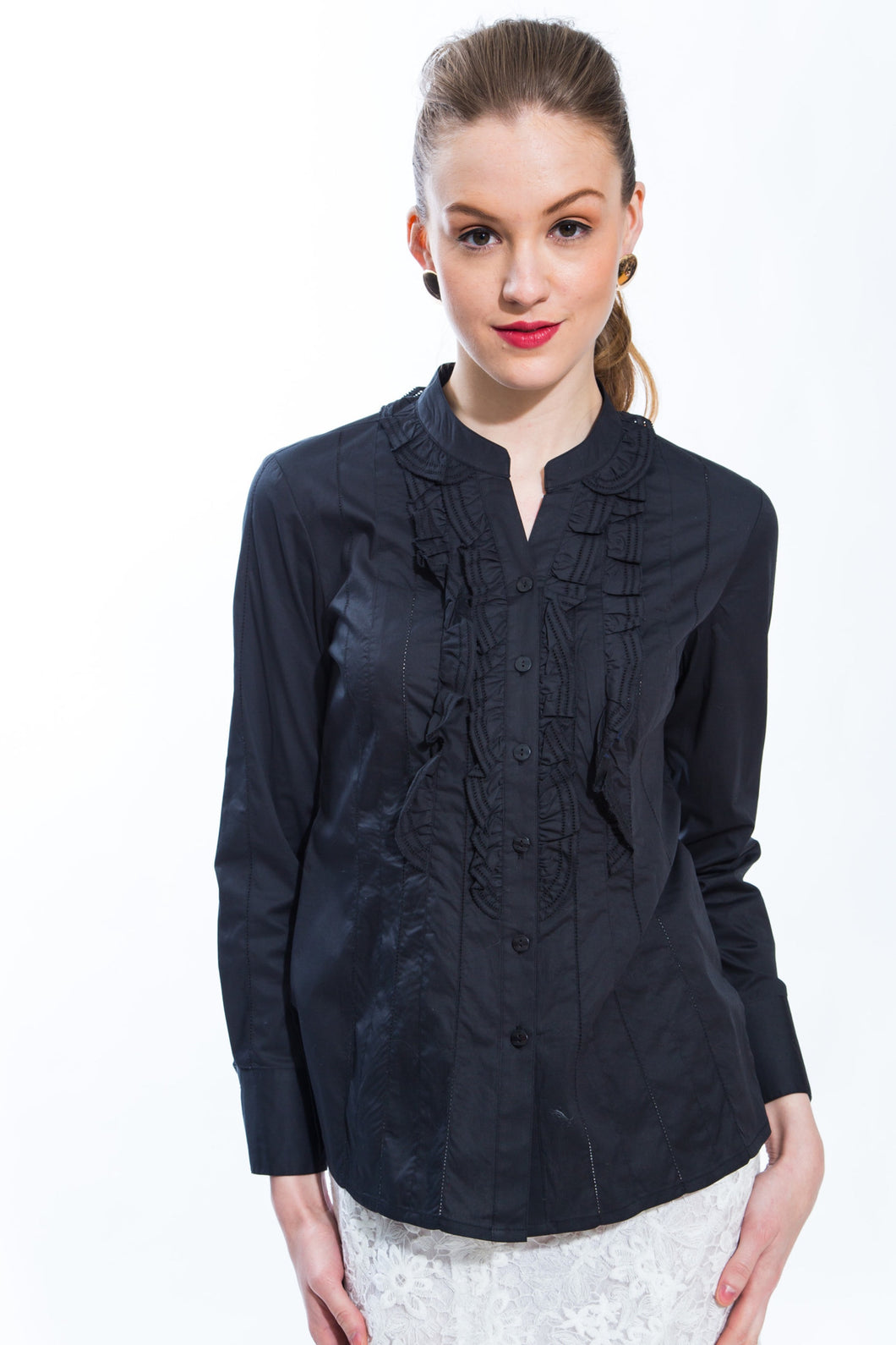 Ruffle Front Cotton Blouse (Black) Style 8143