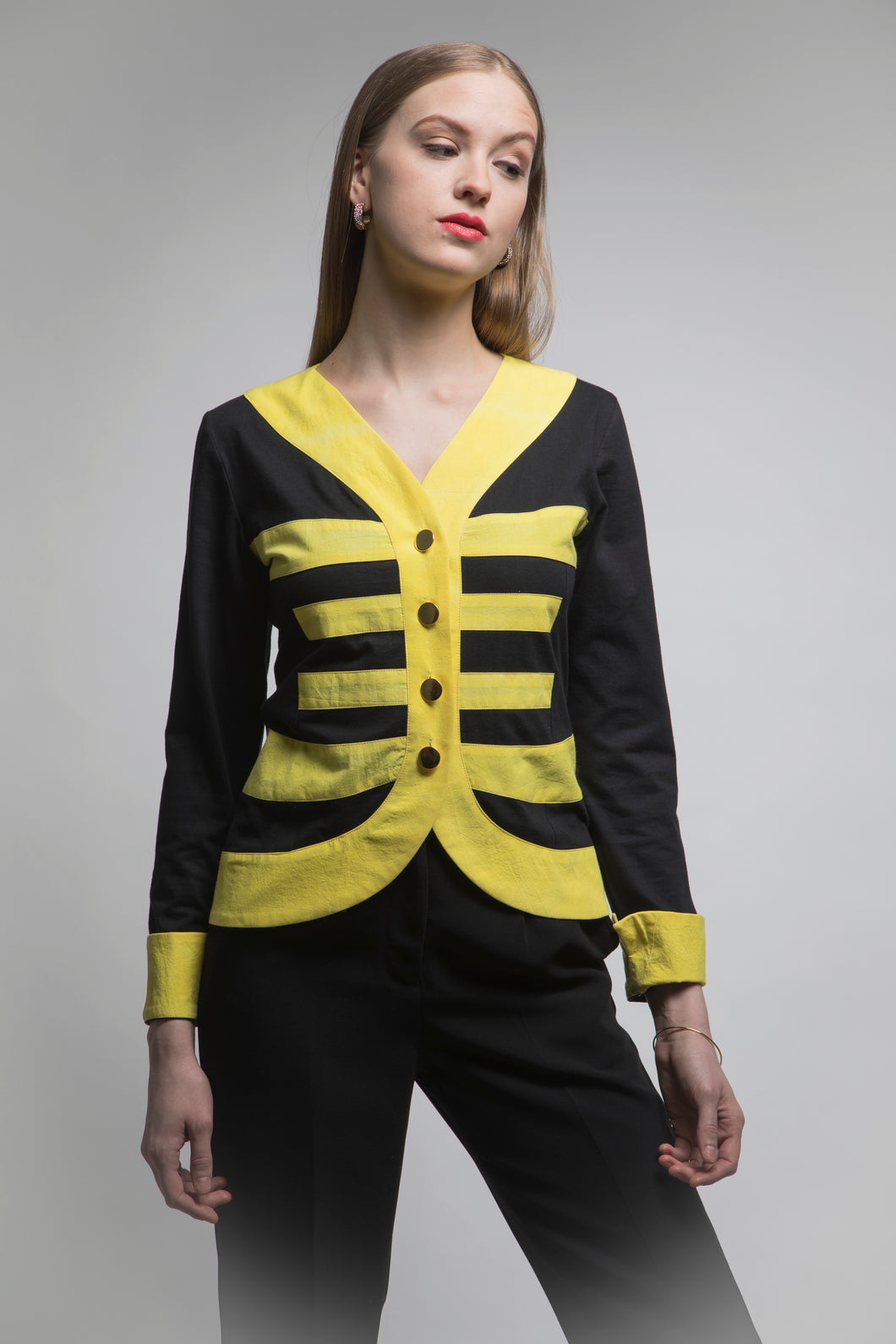 Mei 美 Cardigan Jacket (Black/Yellow) Made in NYC