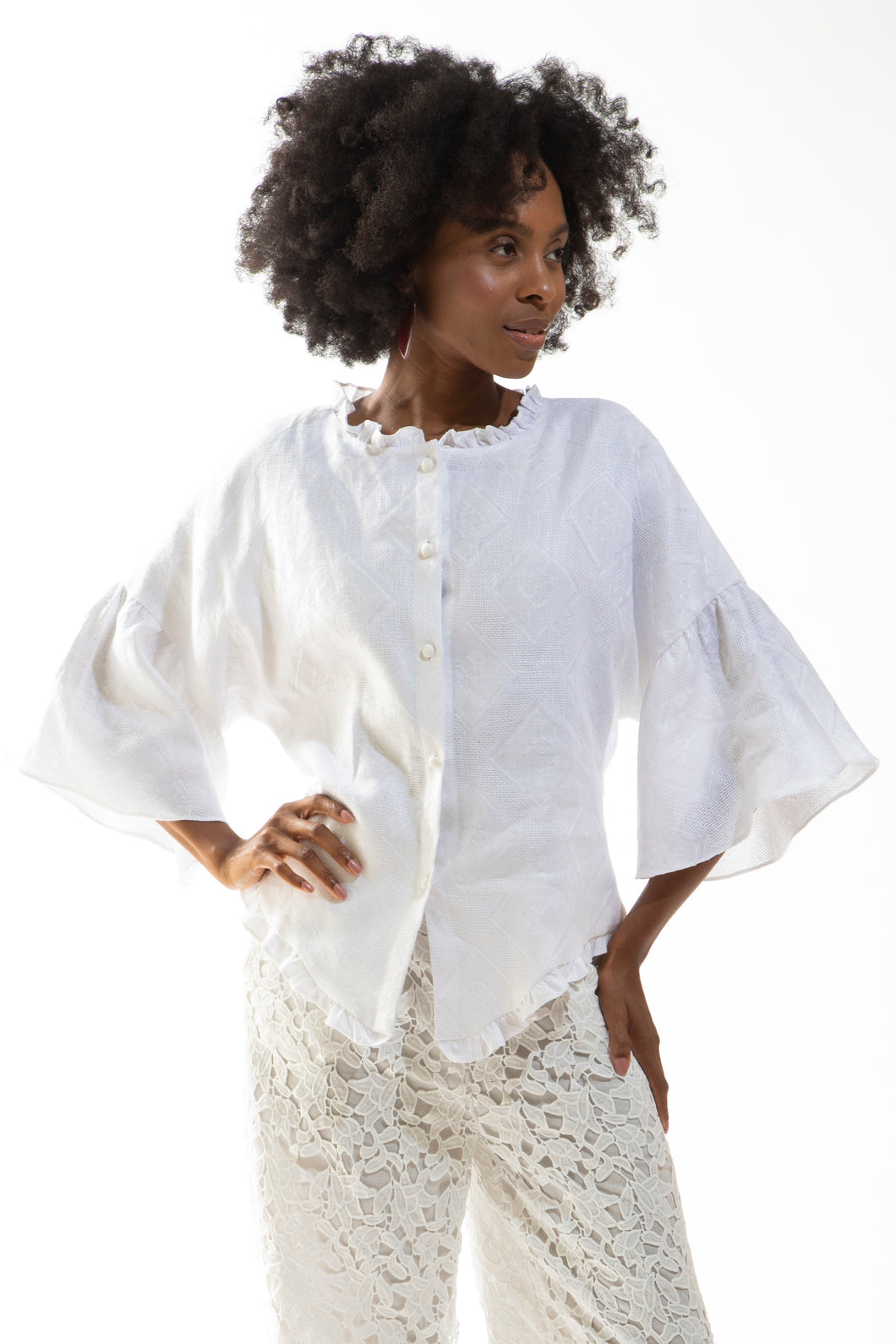 Made in NYC: Jacket with Ruffle Detail (White) Style #217