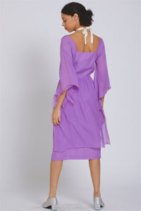 Made in NYC Layered Silk Chiffon Dress (Lavender) Style #184