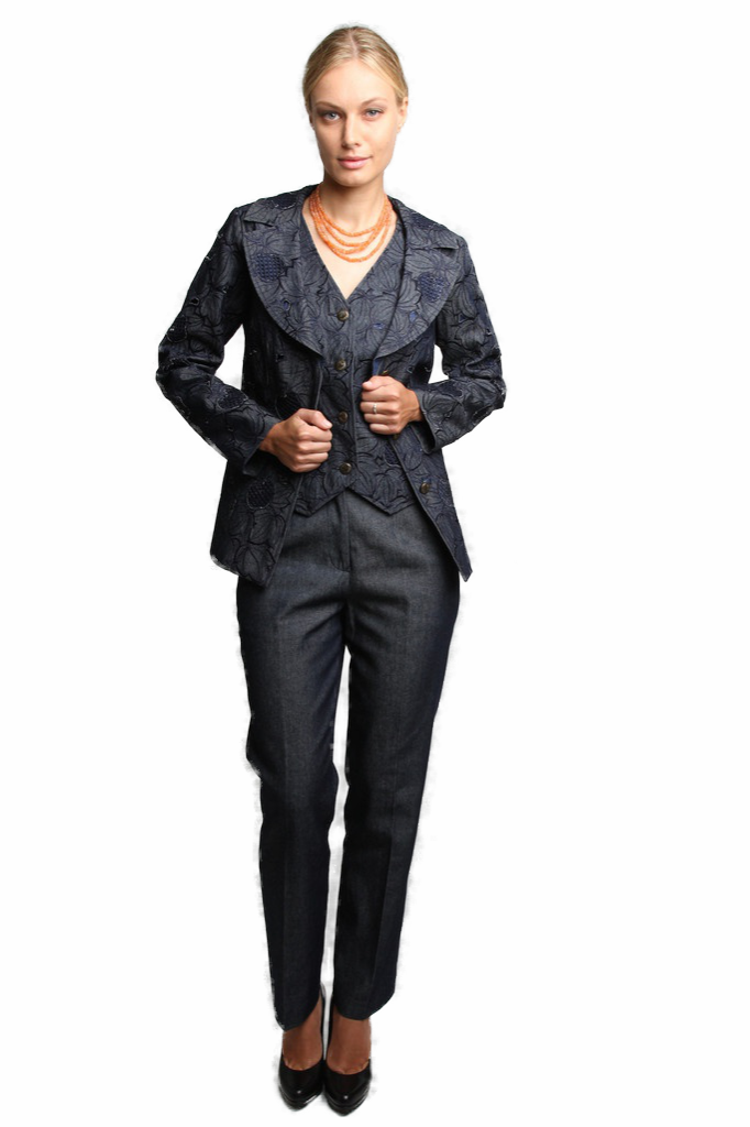 Abstract Flora 3 Piece Pant Suit (Denim) Style# 1743CP