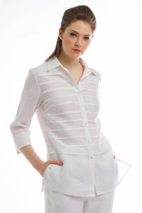 Classic Button Down Linen Shirt (Ivory) Style # 1777
