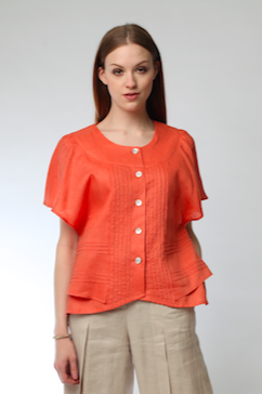 Cross Open Back Pintuck Blouse (Orange) Style # 1733