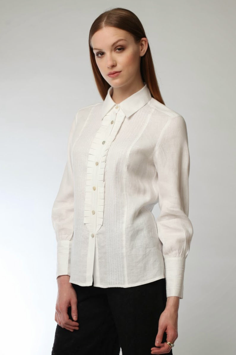 Ruffled Button Down Shirt  Style # 7569