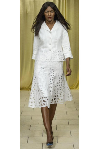 2 Piece Jacket and Skirt Paisley Suit (White) Style 1789S