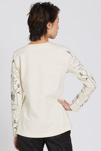 Embroidered Lotus Long Sleeved T-Shirt Style 10833