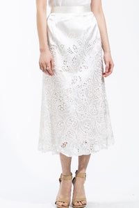 Sateen Cut-Out Lace Skirt (White) Style #8106