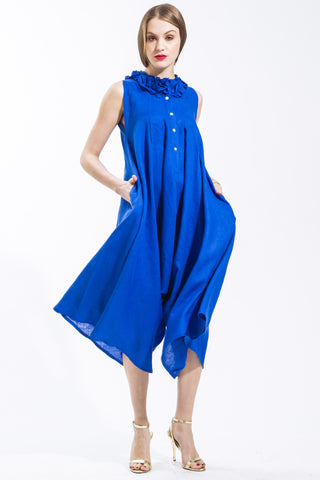 Jumpsuit with Mini Ruffle Neckline (Royal Blue) Style #1272