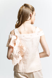 Cold Shoulder Blouse with Detachable Lace Style 7503