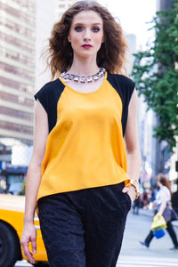 Contrast Black and Yellow T-Shirt Style 103