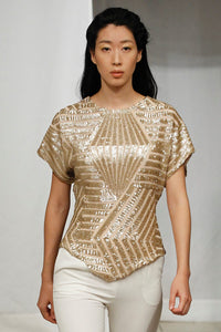Made in NYC Hexagon Gold Sequin Top Style # 126