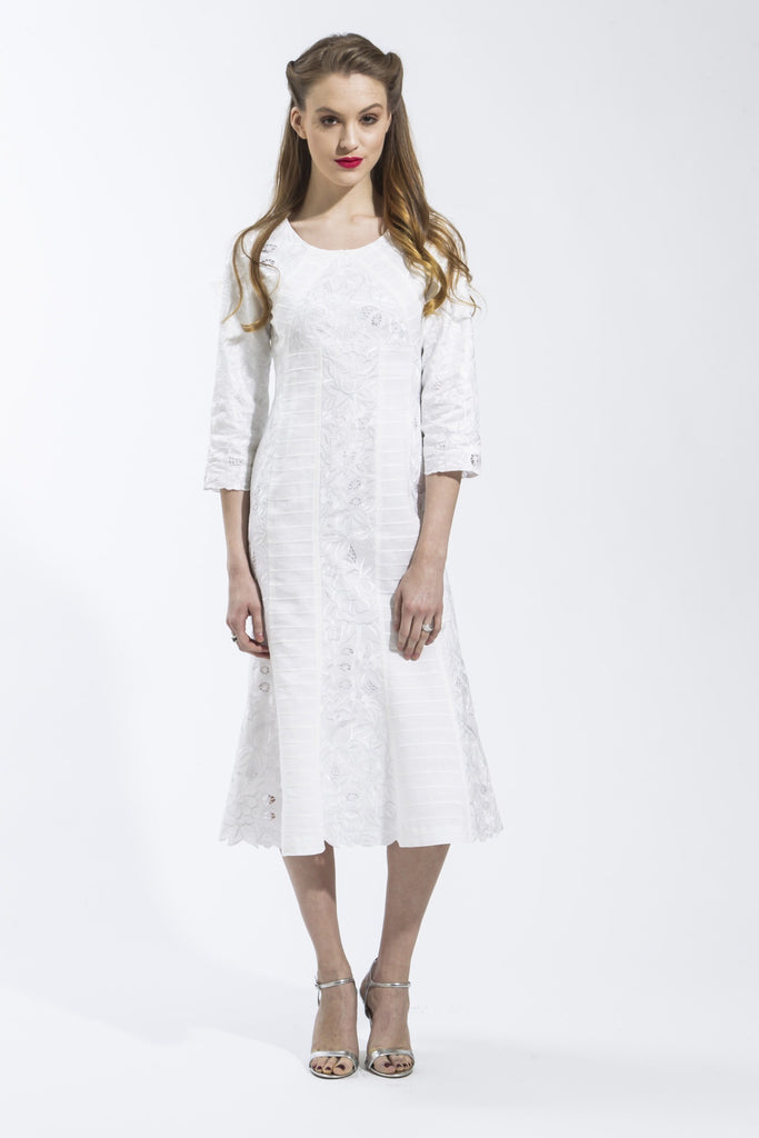 Panel Dress (White) Style 1797