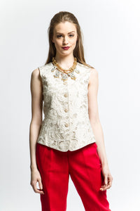Embroidered Vest (Natural) Style 7959