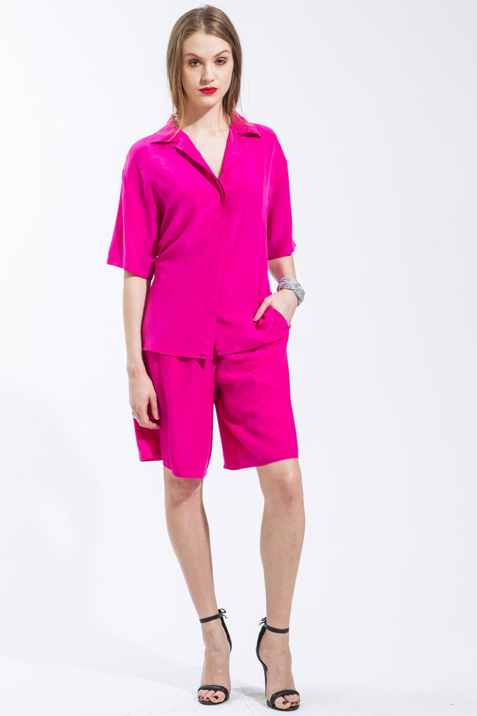 2 Piece Silk Shorts Set (Fuchsia) Style 8055B