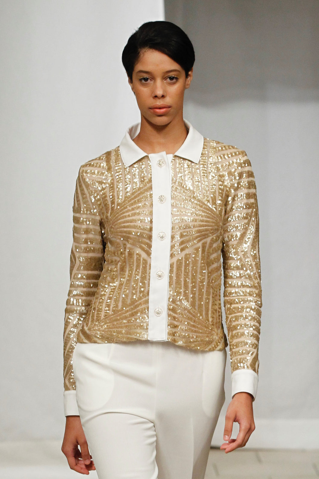 Made in NYC Geometric Gold Sequin Jacket Style # 125