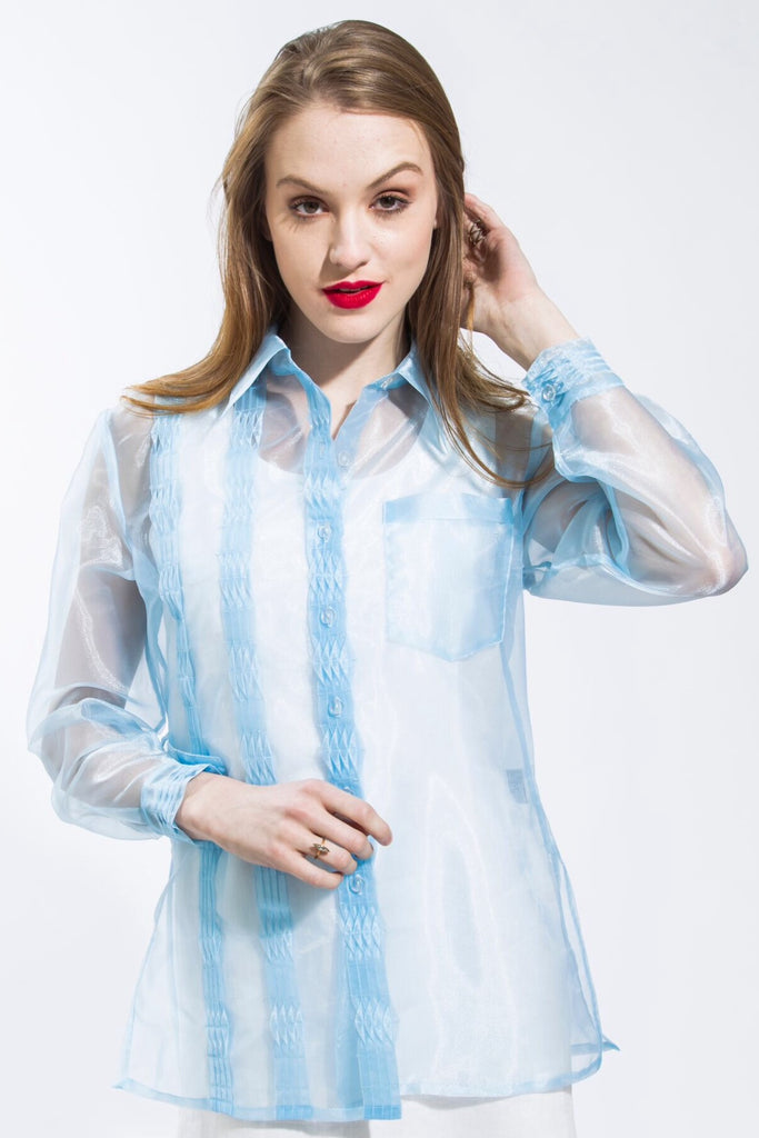 Pleated Organza Long Sleeve Shirt Style# 4637
