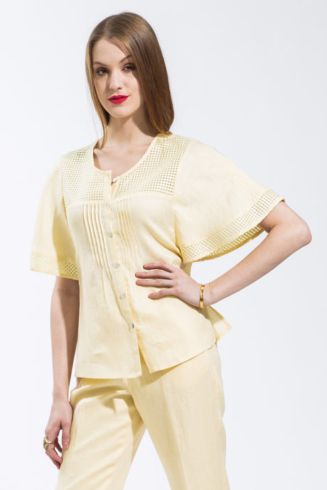 Batwing Sleeve Shirt (Light Yellow) Style 1121