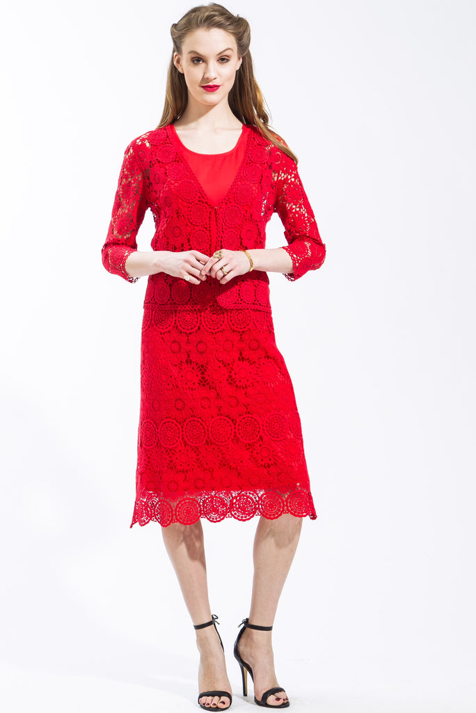 Lace Cardigan, Camisole, and Skirt Set (Red)  Style # 1295CS