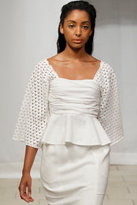 Made in New York Lace Peplum Blouse (White) Style 181