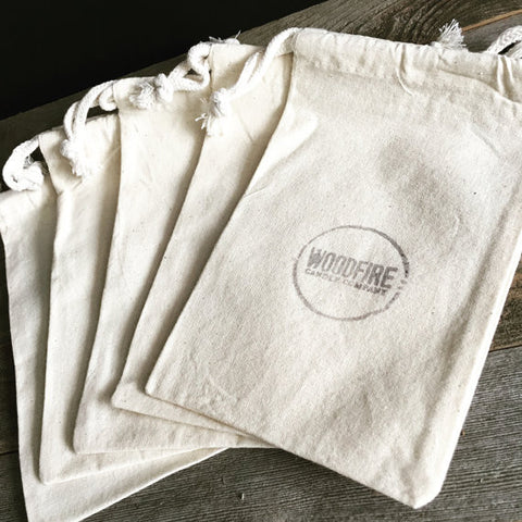 Hand Stamped Cotton Gift Bag - Woodfire Candle Co