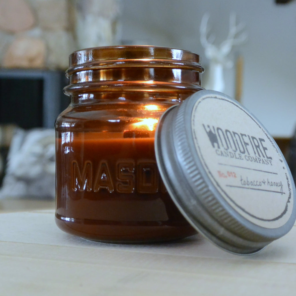 Amber Mason Wood Wick Candle - Woodfire Candle Co - 1