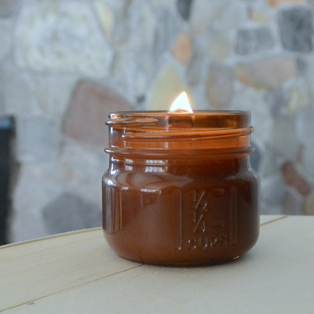Amber Mini Mason Wood Wick Candle - Woodfire Candle Co - 1