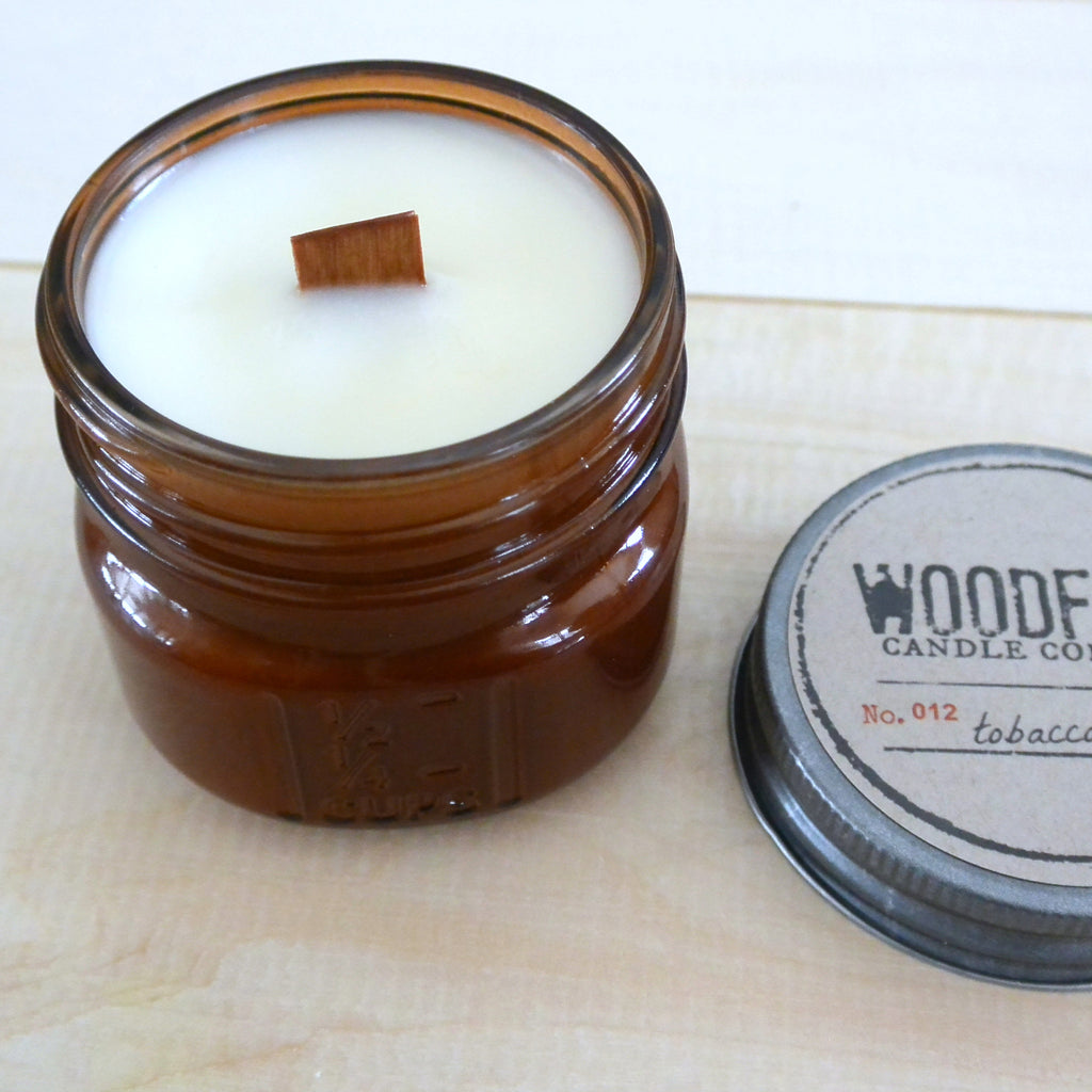 Amber Mini Mason Wood Wick Candle - Woodfire Candle Co - 2