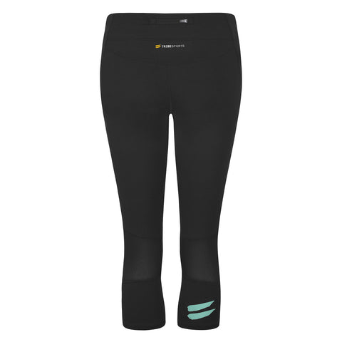 Women's Capri Running Tights - Black / Turquoise , Tribesports - 2