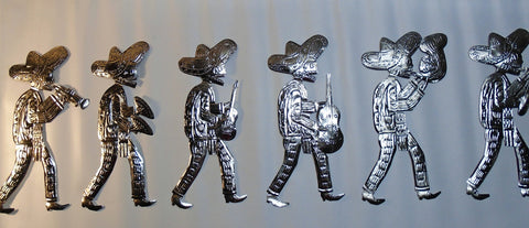 Mezcal Wall Art from Oaxaca - Skeleton Marching Band Set of 6 - Free shipping within Continental US