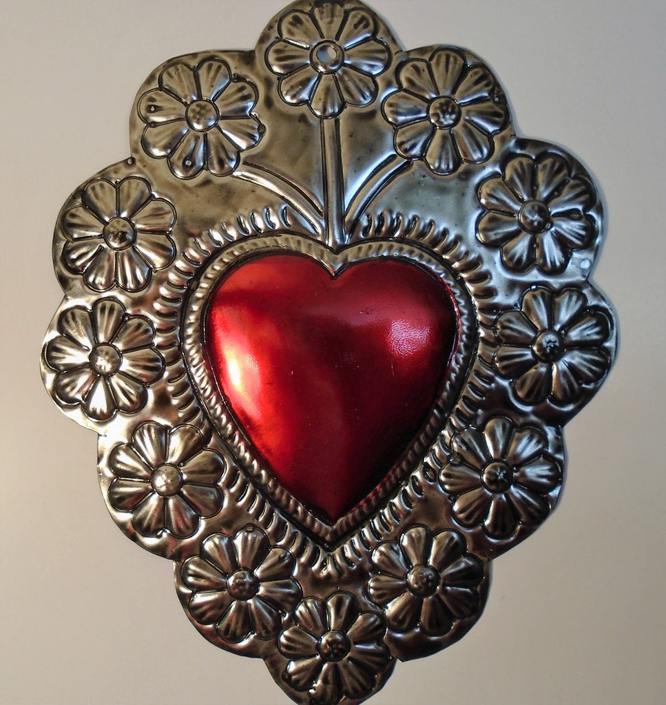 Mezcal Art Wall From Oaxaca Hand Made Tin Metal Embossed Heart For Wall Decoration