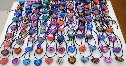 Hand-made, Hand-painted, wood-hand carved Alebrije Heart Necklace - FREE Shipping