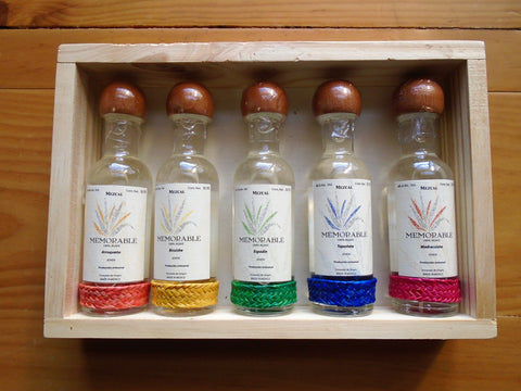 Mezcal Memorable Wild Agaves Collection Minibar size Set of 5 bottles in a Wood Crate