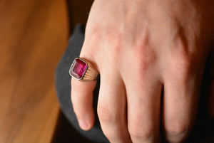 Art Deco Retro Men's Pinky / Wedding Ring; Pink Sapphire in Unplated 14K White Gold