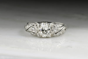 Antique Edwardian Platinum Engagement Ring with Early Old European Cut Diamond and Art Nouveau Lines ANSL1