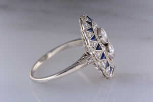 1.16ctw Art Deco Platinum Cocktail / Shield Ring with Old European Cut Diamonds and Sapphires